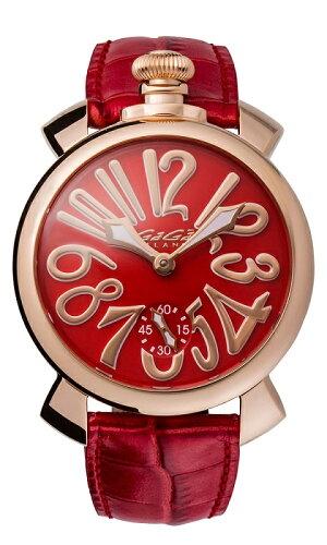 GAGAMILANO5011.13SMANUALE48MM18KPVDガガミラノマヌアーレ48ユニセックス手巻き腕時計レザーステンレスレッド×ゴールド