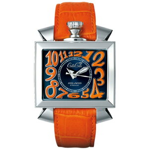 GAGAMILANO6000.4NAPOLEONE48MMガガミラノナポレオーネ48ユニセックス自動巻き腕時計レザーステンレスオレンジ×ブルー