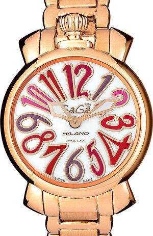 GAGAMILANO6021.3MANUALE35MM18KPVDガガミラノマヌアーレ35ユニセックスクオーツ腕時計ステンレスピンクゴールド×マルチカラー