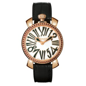 GAGAMILANO6026.01MANUALE35MMSTONES18KPVDガガミラノマヌアーレ35ユニセックスクオーツ腕時計レザーステンレスブラック×ホワイト