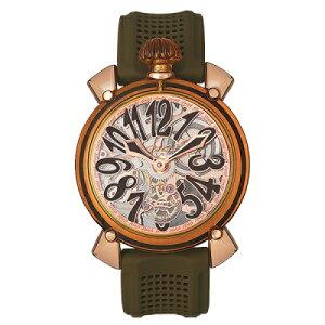 GAGAMILANO6091.02MANUALE48MMCrystalガガミラノマヌアーレ48ユニセックス手巻き腕時計シリコンラバークリスタル&18KPGグリーン系×クリスタル