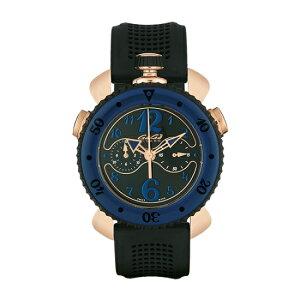 GAGAMILANO7011.01CHRONOSPORTS45MMガガミラノクロノスポーツ45ユニセックスクオーツ腕時計シリコンラバーラバー&18KPGステンレスブラック×ブルー
