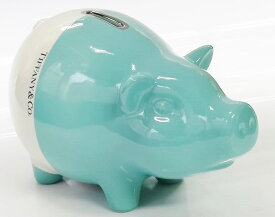 Tiffany&Co. PIGGY BANK ESTE CERAMICHEMADE IN IATLY HANDPAINTEDティファニー カラーブロック ピギーバンク子豚形の貯金箱 陶器 取出し蓋付ティファニーブルー×ピュアホワイトTiffany純正BOX&リボン・ショップバッグ