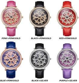 DAVENA 30330 SWAROVSKI WATCHダベナ スワロフスキー ウォッチユニセックス 革バンド腕時計 クォーツ本家本元 グルグル時計※カラー選択式
