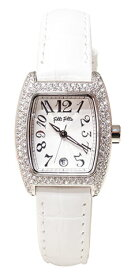 FOLLIFOLLIE S922ZISLV/WHTフォリフォリ腕時計ホワイトレザーベルト