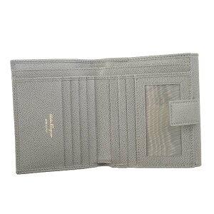 SalvatoreFerragamo22C877-674001-GYサルヴァトーレフェラガモWホック財布レザーアーバングレー×ゴールド※取寄品