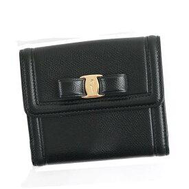 Salvatore Ferragamo22C911-673755フェラガモ Wホック二折財布レザーブラック×ゴールド