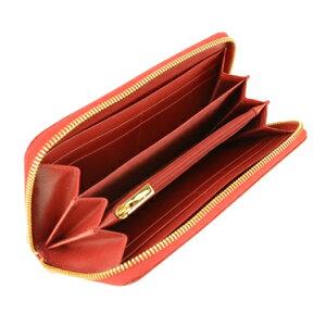 SalvatoreFerragamoB300CALF/ROSSフェラガモラウンドファスナー長財布型押レザーレッド×ゴールド