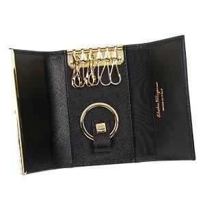 SalvatoreFerragamo224627-14660フェラガモ6連キーケース型押レザーブラック×ゴールド