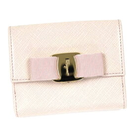 Salvatore Ferragamo22A926-600236フェラガモ Wホック長財布型押レザーライトピンク×ゴールド
