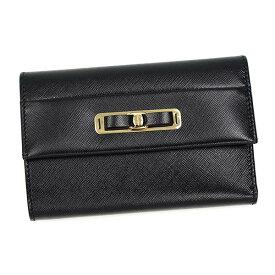 SalvatoreFerragamo22C126-587981フェラガモ二折小銭財布型押レザーブラック×ゴールド