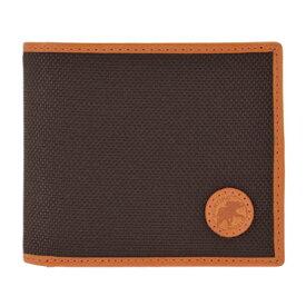 HUNTING WOLRD 674-435 ADOBEハンティングワールド 二折小銭財布キャンバス×レザー ダークブラウン×オレンジ