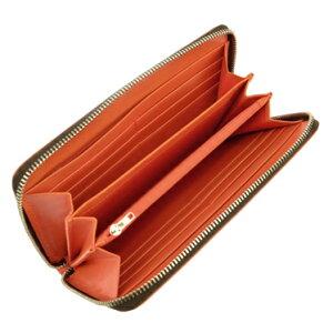 HUNTINGWOLRD676-435ADOBEハンティングワールド財布ラウンドファスナー長財布カラー:ダークブラウンxオレンジ