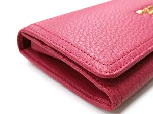 PRADA1M1132-BBE-F0505VITELLODAINOPEONIAプラダ型押カーフ長財布ピンク