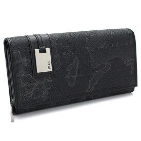 PRIMA CLASSE W026-6426 LONG WALLETプリマクラッセ 中ファスナー小銭入付長財布ブラック×シルバー※取寄品・裁断箇所により地図柄が異なります。