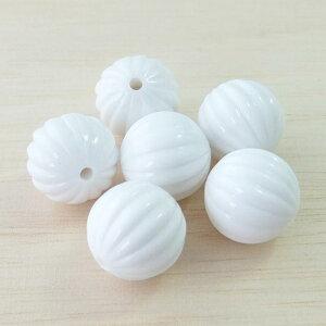 アクリルビーズパーツメロン(1個)ホワイト├アクリル樹脂ビーズアクセサリーパーツアクセサリーパーツブレスレットピアスイヤリングネックレスワンポイント手芸資材素材┤
