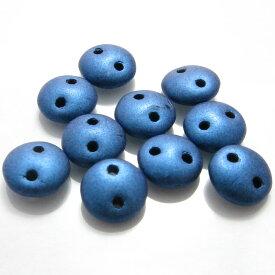 【50%OFF】チェコビーズ レンティル 6mm 2ホールメタリックスエードブルー(1ヶ)ハンドメイド アクセアリー パーツ