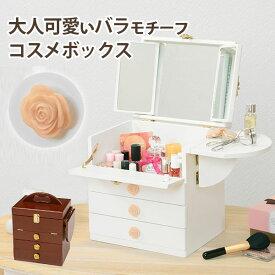 【karen】 ホワイト ブラウン コスメボックス メイク 収納 メイクボックス 化粧品 コンパクト ドレッサー メイクBOX コスメ 化粧ボックス 化粧入れ 化粧箱 おしゃれ かわいい ギフトWH BR 一人暮らし