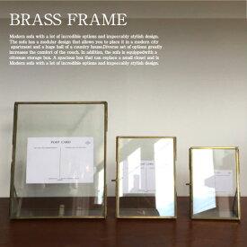 Glass frame(S)【真鍮 スチール ガラスフレーム フォトフレーム 写真立て 額縁 ビンテージ アンティーク】