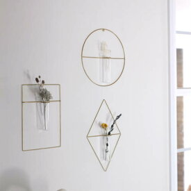 PIKE wall brass vase/ピケウォールブラスチューブベース【一輪挿し 花瓶 フラワーベース 真鍮 ドライフラワー 野花】