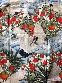 全国どこでも送料無料!春夏新作!!【FUKUWA-UCHI】鶴と波柄アロハシャツ【フクワウチ】メンズ&レディース和柄シルク30%コットン70%