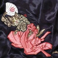 全国どこでも送料無料!!秋冬新作!!【花旅楽団】桜に平安猫刺繍スカジャン【SCRIPT】メンズ&レディース和柄リバーシブル