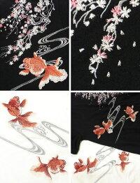 全国どこでも送料無料!春夏新作!【花旅楽団】桜と金魚柄刺繍半袖Tシャツ【SCRIPT】メンズ&レディース和柄