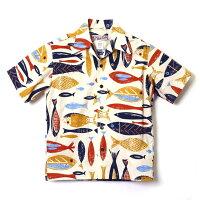全国どこでも送料無料!!春夏新作!!【HULAKEIKI】Fishdesignさかな柄アロハシャツ【フラケイキ】メンズ&レディースハワイアン半袖洋柄コットン100%
