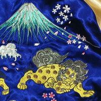 全国どこでも送料無料!2020年春夏新作!【Japanesque】波に獅子刺繍スカジャン【ジャパネスク】メンズ&レディースリバーシブル和柄