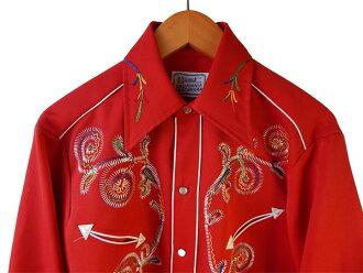 H BAR C Rainbow stitch Embroidery Western shirt vintage