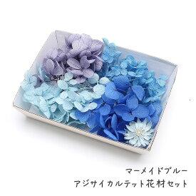 ハーバリウム花材 マーメイドブルー アジサイカルテット花材セット 1ケース プリザーブドフラワー ドライフラワー