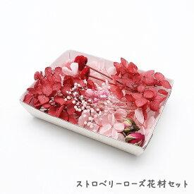 ハーバリウム花材 ストロベリーローズ花材セット 1ケース プリザーブドフラワー ドライフラワー
