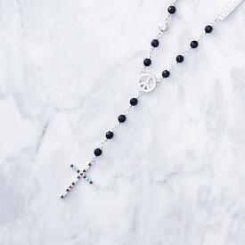 【Crescent Luna(クレセントルナ)】DIOS TYPE B SHORT (ネックレス Silver925 オニキス キュービックジルコニア ロザリオ クロス 十字架)