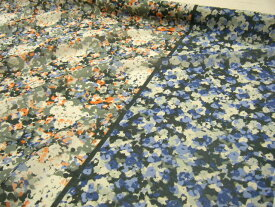 【1m価格 】♪ 天然素材100% ♪ 安心の日本製 バイカラー フラワー −花柄− プリント シルク コットン 生地 ♪ オレンジ×ブルーmix ♪【 1m 1,980円 】【メール便3mまでOKです】≪ 日本製 国産 激安 生地 服地 布地 布 綿 絹 綿シルク≫ s8ke103 B