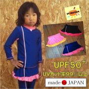 日本製ガールズラッシュスカート【フィット】UVカット/女の子ラッシュ/水着/らっしゅすかーと