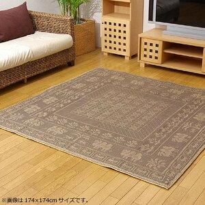 ラグラグマットダイニングラグマット絨毯カーペットじゅうたん厚手おしゃれ北欧安いふかふかふわふわ174×174江戸間2畳ブラウン