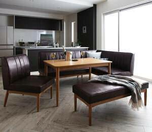ダイニングテーブルセット 7人用 コーナーソファー L字 l型 ベンチ 椅子 おしゃれ 安い 北欧 食卓 レザー 合皮 カウチ 5点 ( 机+ソファ1+右肘ソファ1+チェア1+長椅子1 ) 幅120 デザイナーズ クール