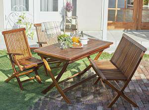 ガーデンテーブル + ガーデンチェア 椅子 セット 屋外 カフェ テラス ガーデン 庭 ベランダ バルコニー アジアン( 4点(テーブル+チェア2脚+ベンチ1脚)チェア 肘掛け幅120 )