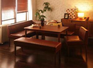 ダイニングテーブルセット 7人用 コーナーソファー L字 l型 ベンチ 椅子 おしゃれ 安い 北欧 食卓 レザー 合皮 カウチ 5点 ( 机+ソファ1+左肘ソファ1+チェア1+長椅子1 ) 幅120 デザイナーズ クール
