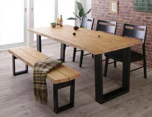 ダイニングテーブルセット 6人用 椅子 ベンチ おしゃれ 安い 北欧 食卓 5点 ( 机+チェア3+長椅子1 ) ベンチ3P 幅180 西海岸 ヴィンテージ インダストリアル レトロ サーフ ブルックリン ミッドセ
