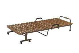 折りたたみベッド すのこ ベット ベッド シングル シングルベッド 折りたたみ 折り畳み すのこ キャスター付き 安い 軽量 パイプ 手すり付き 一人暮らし ブラウン