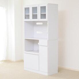 食器棚 おしゃれ 北欧 安い キッチン 収納 棚 ラック 木製 レンジ台 キッチンボード カップボード ハイタイプ 大容量 約 幅90 白 スライド 炊飯器置き場 高さ180 引き出し コンセント