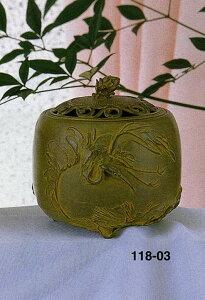 送料無料 香炉 松鶴文 名取川 雅司 床の間 置物 仏具 銅 ブロンズ