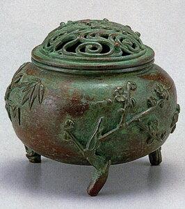 送料無料 香炉 玉形三友文 須賀 月芳 床の間 置物 仏具 銅 ブロンズ