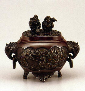 送料無料 香炉 小判型七福神 小 恵比須大黒蓋 床の間 置物 仏具 銅 ブロンズ