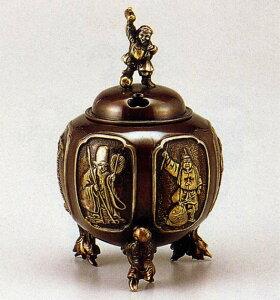 送料無料 香炉 七福神六面間取香炉 能作 吉秀 床の間 置物 仏具 銅 ブロンズ