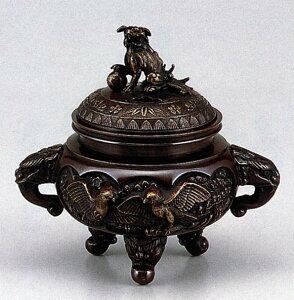 送料無料 香炉 開運花鳥香炉 床の間 置物 仏具 銅 ブロンズ
