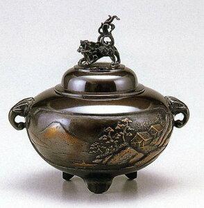 送料無料 香炉 鉄鉢型山水 小 能作 吉秀 床の間 置物 仏具 銅 ブロンズ