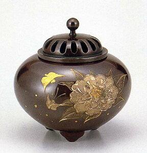 送料無料 彫金シリーズ 香炉 平丸 牡丹 床の間 置物 仏具 銅 ブロンズ