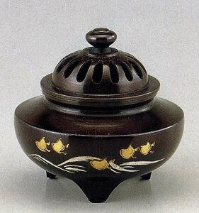 送料無料 彫金シリーズ 香炉 玉利久 波千鳥 床の間 置物 仏具 銅 ブロンズ
